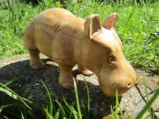 More details for fair trade hand carved made wooden wild hippo hippopotamus ornament statue