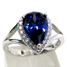 GORGEOUS 3 CT TANZANITE PEAR CUT 925 STERLING SILVER RING SIZE 5-10