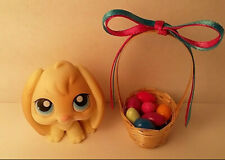 Dollhouse Mini Easter Basket Polymer clay Eggs Satin Bow Handcraft USA Pink Blue