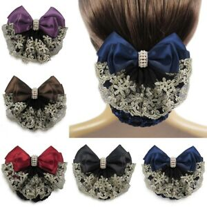 Lady Satin Bow Barrette Hair Clip Cover Net Bun Snood Bowknot Women Girls Bridal
