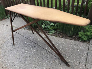 """Antique Wood Metal Primitive Ironing Board Folding 55"""" Sofa Cocktail Drink Table"""