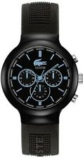 New Lacoste Men's Borneo Chronograph Blue Black Silicone Strap Watch 2010720