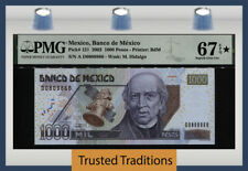 TT PK 121 2002 MEXICO 1000 PESOS M. HIDALGO PMG 67 EPQ STAR SUPERB TIED AS BEST!