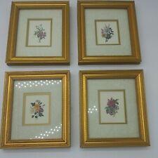 FLORAL BOTANICAL FLOWER ART PRINT  Framed small set 4 matching gold matted 6 x 7
