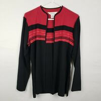 Exclusively Misook Womens Cardigan Size S Black Red Open Front Long SLeeve