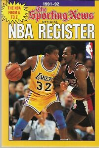 1991-92 The Sporting News NBA Register---MAGIC JOHNSON CLYDE DREXLER THE ADMIRAL