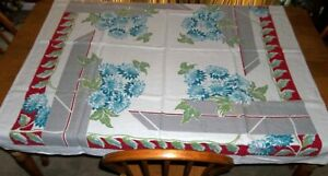 "Vintage Gray Red & Large Blue Mums Flowers Tablecloth 50"" Square"