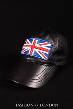 Black BASEBALL CAP British Flag UNION JACK England Real Soft Lambskin Leather