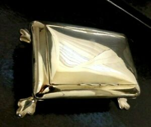 """Antique HALLMARKED EPNS Silver Plate Footed Classic 1920's Jewellery Box 6"""" X4"""""""