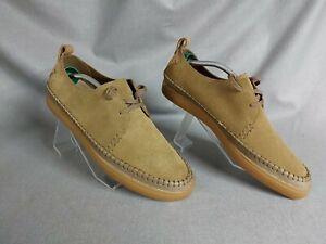 Clarks Originals Beige Brown Corduroy Laced Flat Comfort Shoes Size Uk 11 Eu44.5