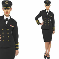 Ladies Navy Fancy Dress Costume Naval Officer Military Sailor Outfit Smiffys