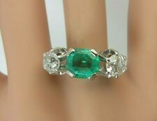 Vintage Antique 18k White Gold 2.25 carat Emerald Old Mine Diamond Ring 3.55 ct