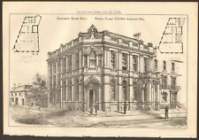 1885  ANTIQUE PRINT- ARCHITECTURE - YORKSHIRE - SAVINGS BANK, HULL