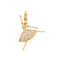 14K Solid Yellow Gold CZ Ballerina Pendant - Ballet Dancer Necklace Charm Women