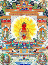 13inch Mineral Color Wood Scroll Tibet Buddhist Thangka Amitabha's Rainbow Body