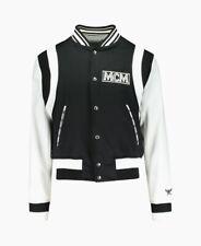 Brand New MCM Logo Stadium Bomber Varsity Leather Sleeves Jacket Size Large