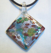Murano Glass Lampwork MULTI COLOR Pendant on BLACK Cord Necklace K-35