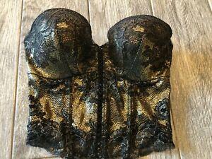 Victorias Secret 34C Underwire Satin Bridal Corset Bustier Bra 34 C Gold Lace