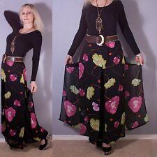 Vtg 80s CACHE Sheer FLORAL Black Drape PALAZZO MAXI Wide Leg Dress Skirt Pants