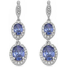 PURE ELEGANCE! HOT TANZANITE & CZ DANGLE .925 Sterling Silver Earrings