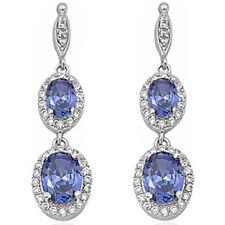 PURE ELEGANCE! HOT TANZANITE & CZ DANGLE .925 Sterling Silver Earrings