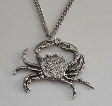 Chain Necklace #1037 Pewter CRAB (30mm x 25mm) CANCER