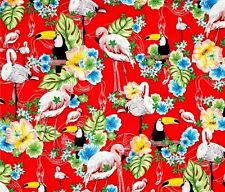 Fat Quarter Island Tropics Flamingo Toucan 100% Cotton Quilting Fabric Benartex