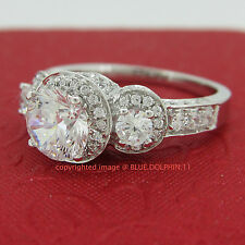 Genuine Real Solid 9CT White Gold Engagement Wedding Rings Simulated Diamonds
