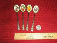 New ListingAvon Natures Best Stainless Jelly Spoons, Set Of 4 With Enamel Fruit Bowls 1981