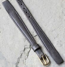 Grey textured stitched leather 9mm open-ended vintage watch strap rare size NOS