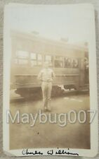 Vintage photograph identified American soldier in front of train Denver, CO 1942