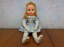 Vintage Polish Jointed Ethnic Cloth DOLL Plastic/Celluloid Face Cotton Dress Vgc