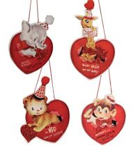 Bethany Lowe Wild About You Valentines Day Retro Animal Images Ornament Set of 4