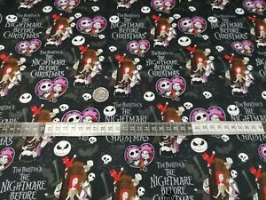 Jack & Sally the nightmare before Christmas  cotton fat quarter. masks & crafts