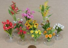 1:12 Scale Mixed Flowers Fixed In A Clear Vase Tumdee Dolls House Accessory ML23