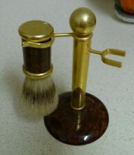 GENTLEMAN'S VINTAGE SHAVING BRUSH STAND & BRUSH - MADE IN ITALY- GOLD & BROWN