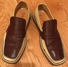 Miu Miu Prada Men's Loafer Slip On Shoes. Beige/Brown. Made In Italy. Size IT 6.
