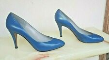 """Vintage Shoes 80s Michele Loisi 8.5B 4"""" Stilletos Blue Leather Pumps New Italy"""