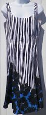 Size 10P 10 Petite Sundress Nine West Periwinkle & Black Flowers Stripes New Tag
