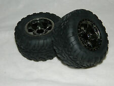 HPI SAVAGE FLUX XS MINI GT2 TIRES & WARLOCK CROME WHEELS 2.2 12MM HEX (2)
