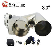 """ELECTRIC EXHAUST 3"""" CATBACK DOWNPIPE CUTOUT E-CUT OUT VALVE SYSTEM KIT& REMOTE"""