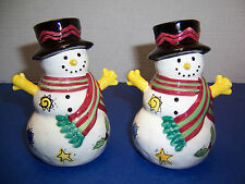 Sango Sweet Shoppe Christmas Snowman Salt Pepper Shakers & Stoppers Sue Zipkin