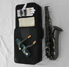 Pro.New Satin Black Nickel C Melody Saxophone Sax High F# Straight & Curved Neck