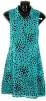 PINS & NEEDLES Urban Outfitters Teal Cut Out Back Sleeveless Shift Dress Uk 12