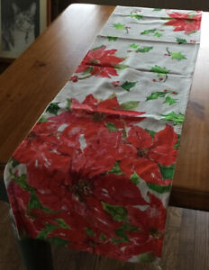 NEW April Cornell Poinsettia Watercolor Holiday Table Runner 13 X 72 100% Cotton