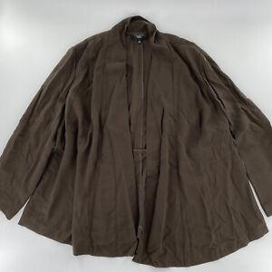 Talbots Wool Mix Brown Blazer Wrap Knitted Light Jacket Size 22W NWT