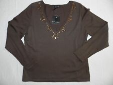 WOMENS SWEATER V-neck cardigan = brown = APOSTROPHE = SIZE XLarge= CA12
