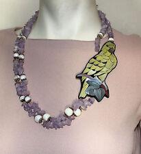 Lee Sands vintage parrot fashion necklace amethyst mother of pearl