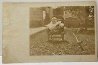 RPPC Baby in Wicker Rocking Chair Photo c1906 Postcard D20