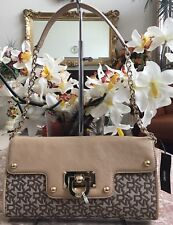 NWT DKNY T&C W/D Hardware CHINO-NUDE Convertible Shoulder Bag/Clutch MSRP $145